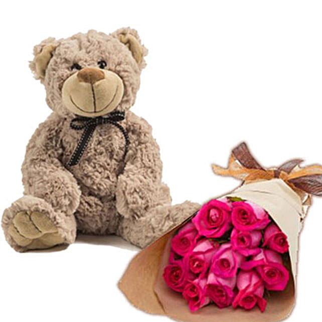 Dark Pink Roses N Teddy: Flower Delivery in Australia