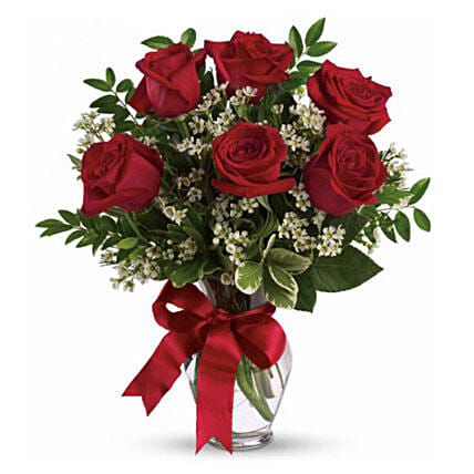 Six Long Stemmed Red Roses Bouquet: Rose Delivery in Australia
