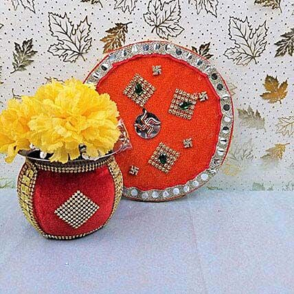 Decorative Red Bhai Dooj Thali: Bhai Dooj Gifts to Canada
