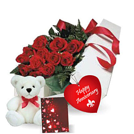 Rose Gift Box N Teddy: Send Flowers to Canada