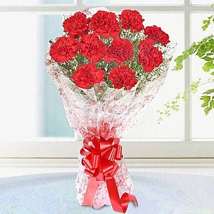 10 Elegant Red Carnations Bouquet: Carnations