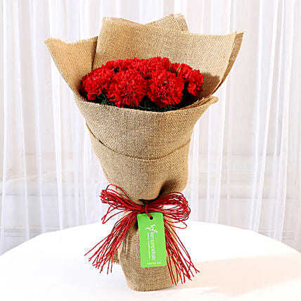 10 Red Carnations Bouquet in Jute: