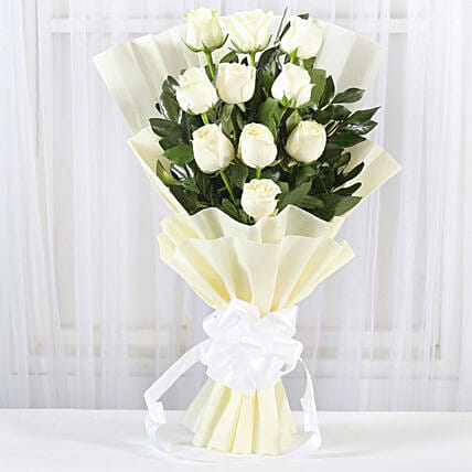 Pristine White Roses Bunch: Gifts to India