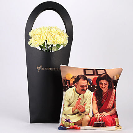 10 Yellow Carnations & Personalised Cushion Combo: Flowers N Personalised Gifts