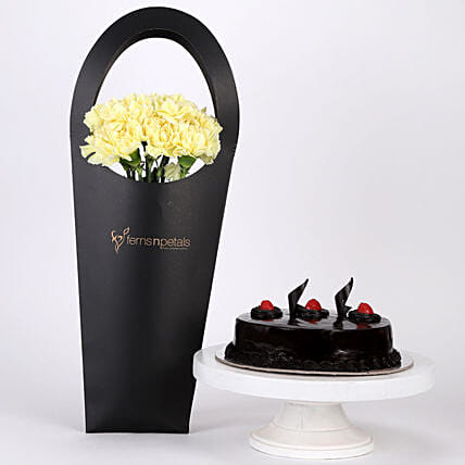 10 Yellow Carnations & Truffle Cake Combo: Flower Bouquet with Cake