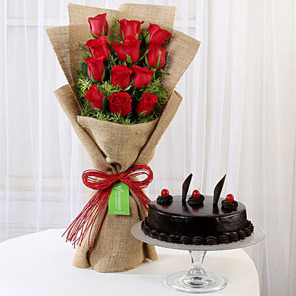 12 Layered Red Roses Bouquet & Truffle Cake: Flower Combos