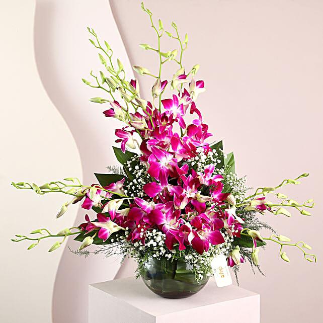 Purple Orchids Vase Arrangement: Orchids