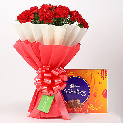 12 Red Carnations Bouquet & Cadbury Celebrations Box: Send Flowers and Chocolates