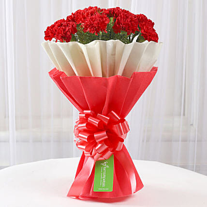 12 Red Carnations Bouquet in Red & White Paper: Send Carnations