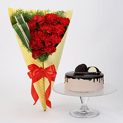 12 Red Carnations & Chocolate Cake: Flowers & Cake Combos