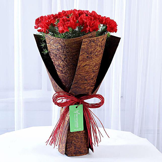 12 Red Carnations in Brown Handmade Paper: Send Carnations