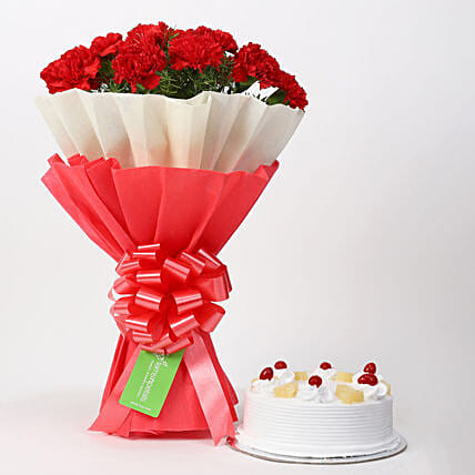 12 Red Carnations & Pineapple Cake Combo: Carnations