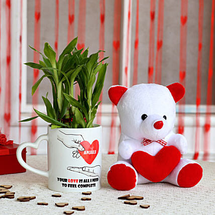 2 Layer Lucky Bamboo Plant with Teddy Bear Combo: Personalised Gifts Combo for Valentine's Day