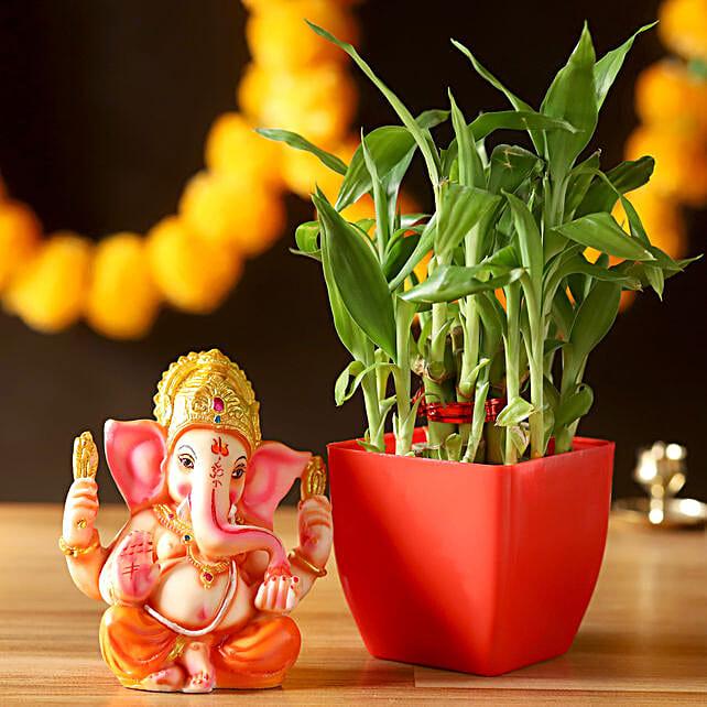2 Layer Lucky Bamboo With Ganesha Idol: Diwali Plants