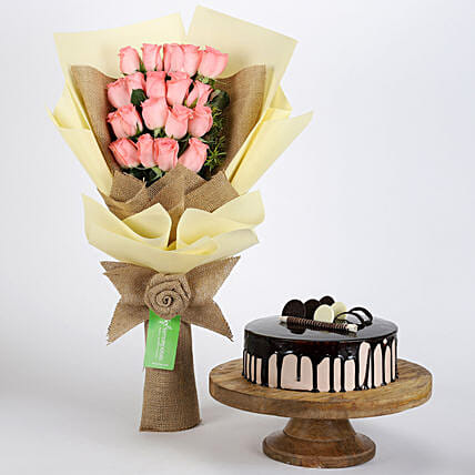 20 Pink Roses Bouquet & Choco Cream Cake: Flowers & Cake Combos