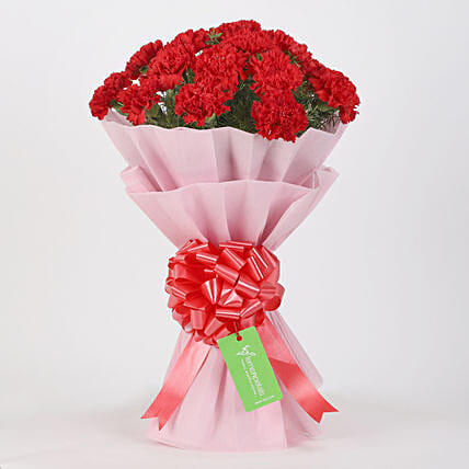 20 Red Carnations Bouquet in Pink Paper: Red Flowers