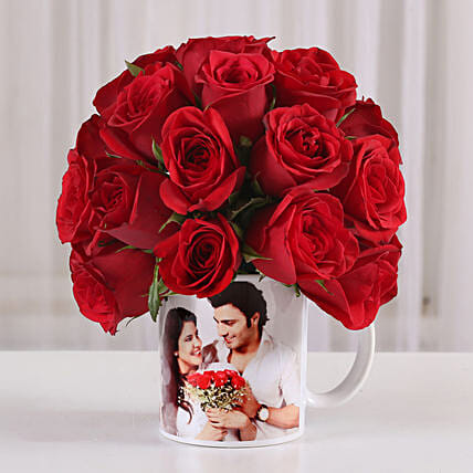 20 Red Roses in White Personalised Mug: Same Day Delivery Personalised Gifts