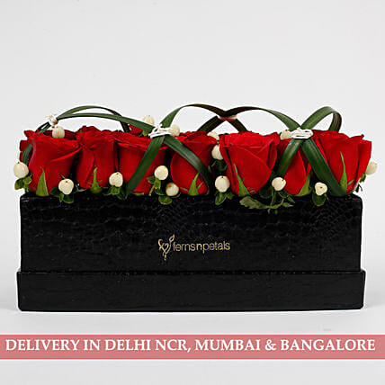 21 Premium Enticing Red Roses in Black FNP Box: Red Flowers