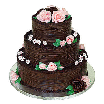 3 Tier Chocolate Cream Cake: Send Chocolate Cakes