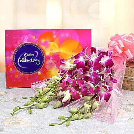 6 Purple Orchids With Cadbury Celebrations: Cadbury Chocolates