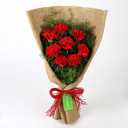 8 Red Carnations Bouquet in Jute: Carnations