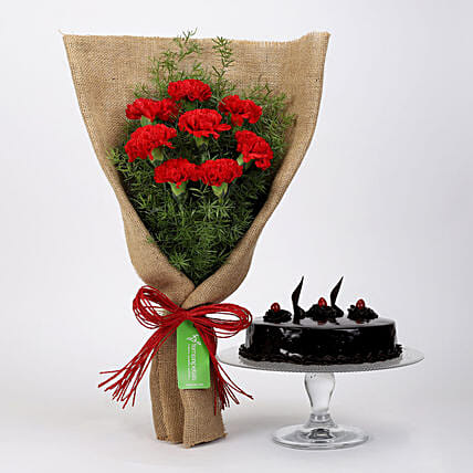 8 Red Carnations & Truffle Cake: Cakes Combo