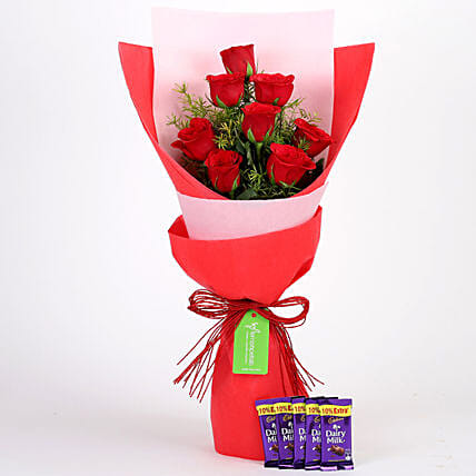 8 Red Roses with Dairy Milk Combo: