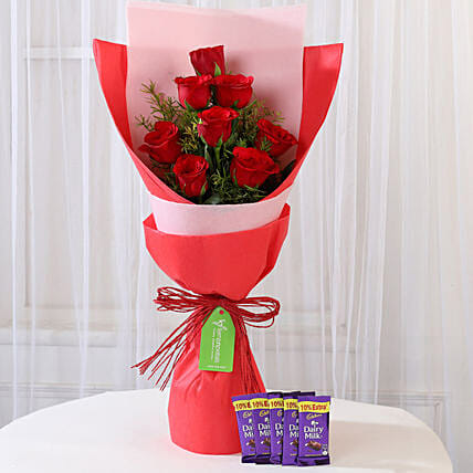 8 Red Roses with Dairy Milk Combo: Gift Combos