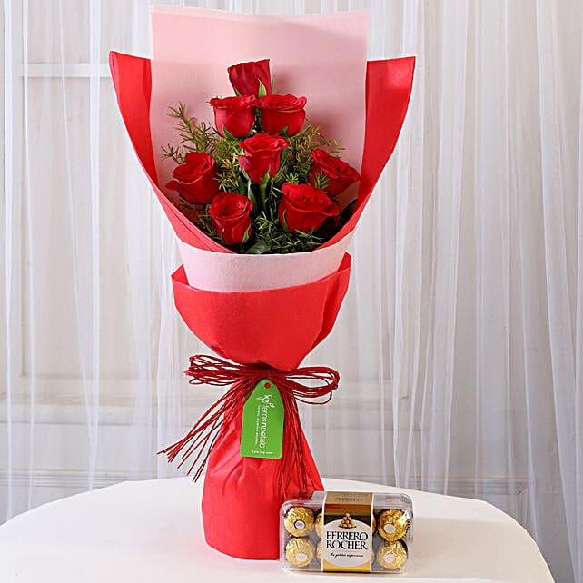 8 Red Roses with Ferrero Rocher Combo: Ferrero Rocher Chocolates