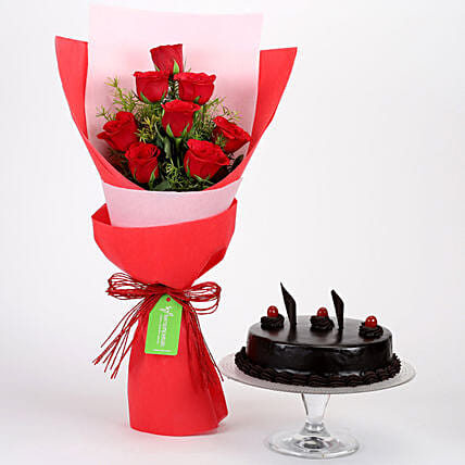 8 Red Roses with Truffle Cake Combo: Flower Bouquet with Cake