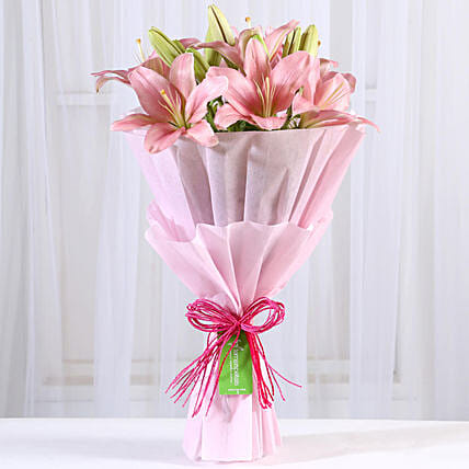 Admirable Pink Asiatic Lilies Bunch: