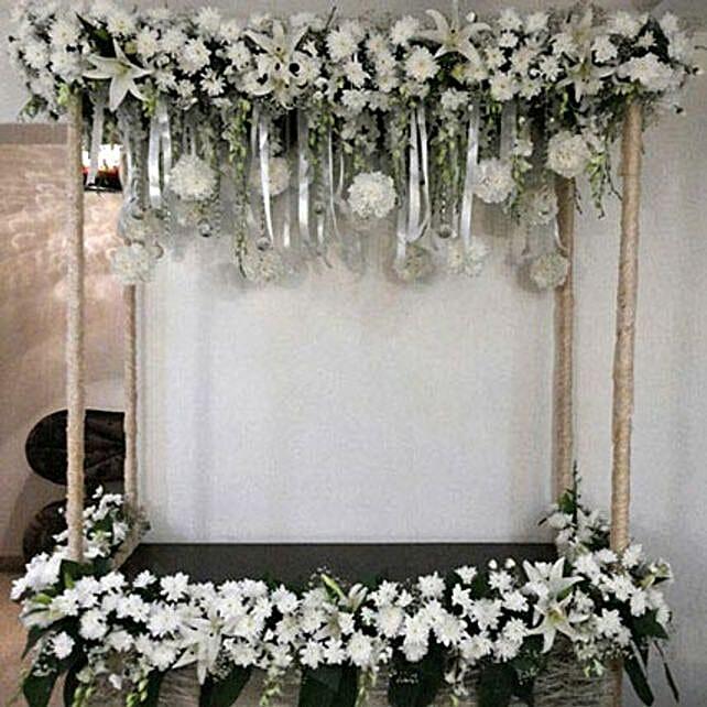 All White Sparkling Flower Decoration: Carnations