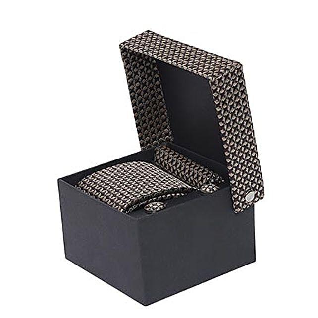 Alvaro Castagnino Brown Necktie Pocket Square And Cufflinks Tie Set for Men: Ties and Cufflinks