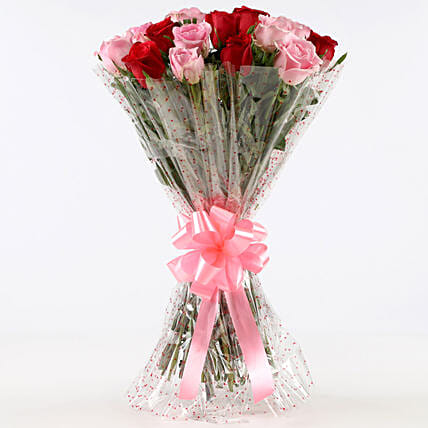 Appealing 18 Red & Pink Roses Bunch: Roses