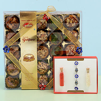 Assorted Turkish Baklava & Evil Eye Rakhi: Feng Shui Rakhi