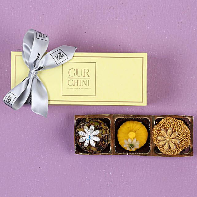 Badam Caramel & Kesar Modak Box- 250 gms: Sweets Delivery