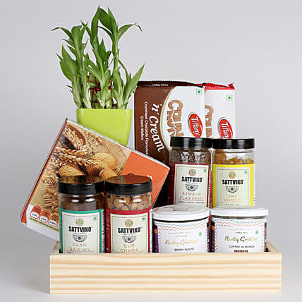 Bamboo Plant with Healthy Snacks Hamper: Send Diwali Gift Hampers
