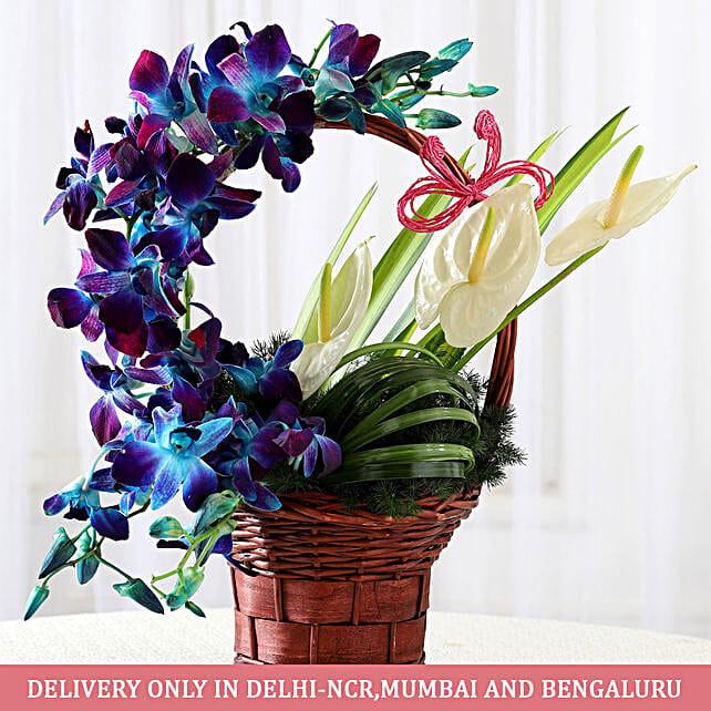 Basket of Purple Orchids & Anthuriums: Flower Arrangements