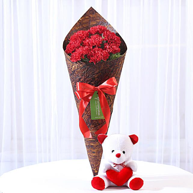 Beautiful 8 Red Carnations & Teddy Bear: Carnations