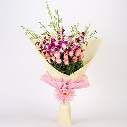 Beautiful Bouquet Of Orchids & Roses: