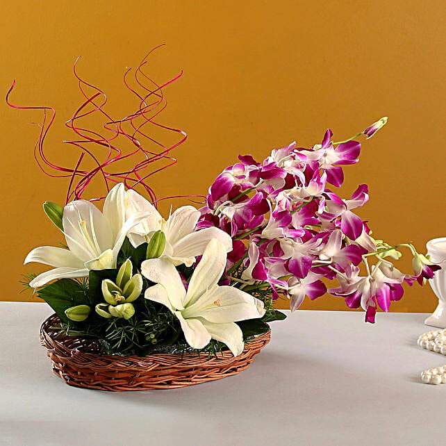 Lilies And Orchids Basket Arrangement: Flower Basket