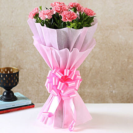 Beautiful Pink Carnations Bouquet: Flowers for Anniversary