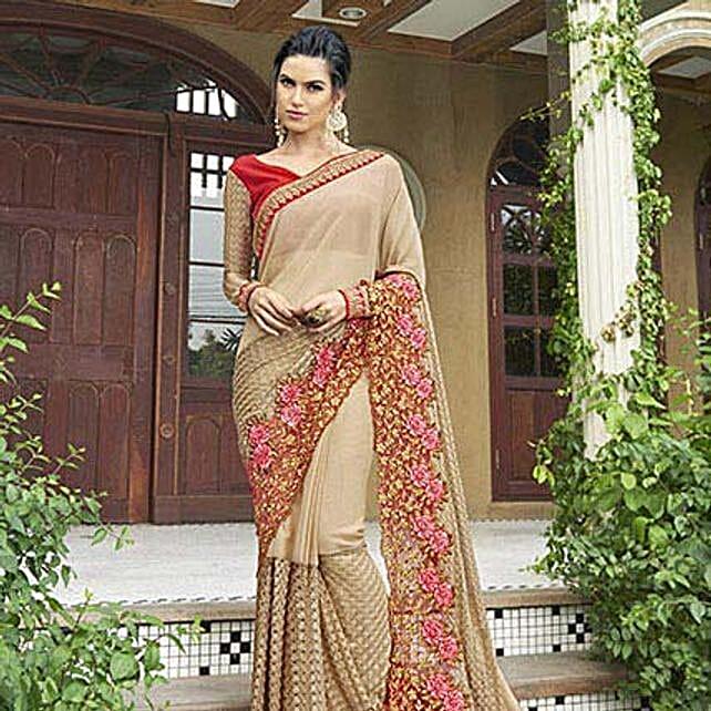 Beige Chiffon Traditional Partywear Saree: