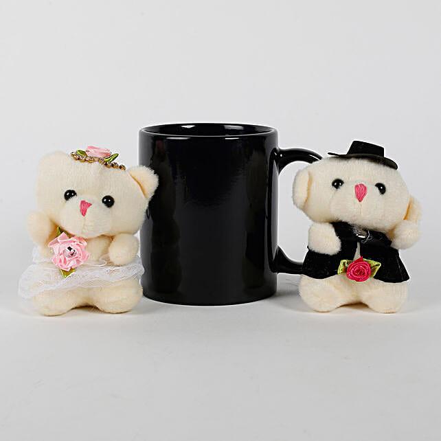 Black Mug & Teddy Bears Combo: Gift Combos