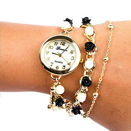 Black N White Pearl Watch For Women: Watches