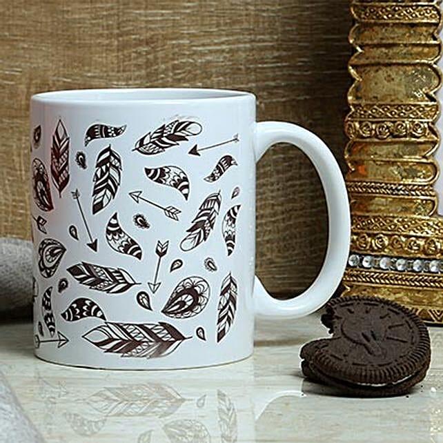 Blacks On White Print Mug: Coffee Mugs