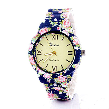 Blue N Pink Floral Watch For Women: Buy Watches