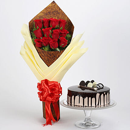 Bouquet of 12 Red Roses & Chocolate Cake: Flower Bouquet with Cake