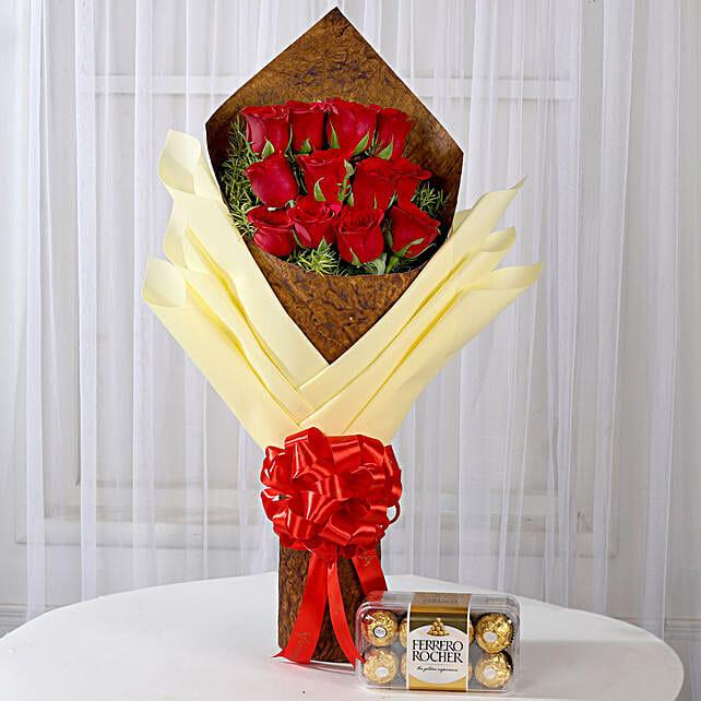 Bouquet of 12 Red Roses & Ferrero Rocher: Ferrero Rocher Chocolates