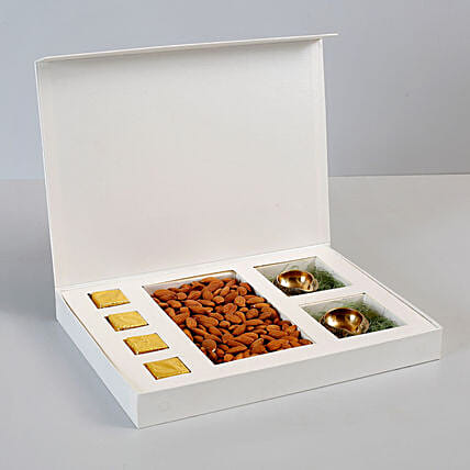 Box of Almonds & Brass Diyas: Dry Fruits Gift Packs